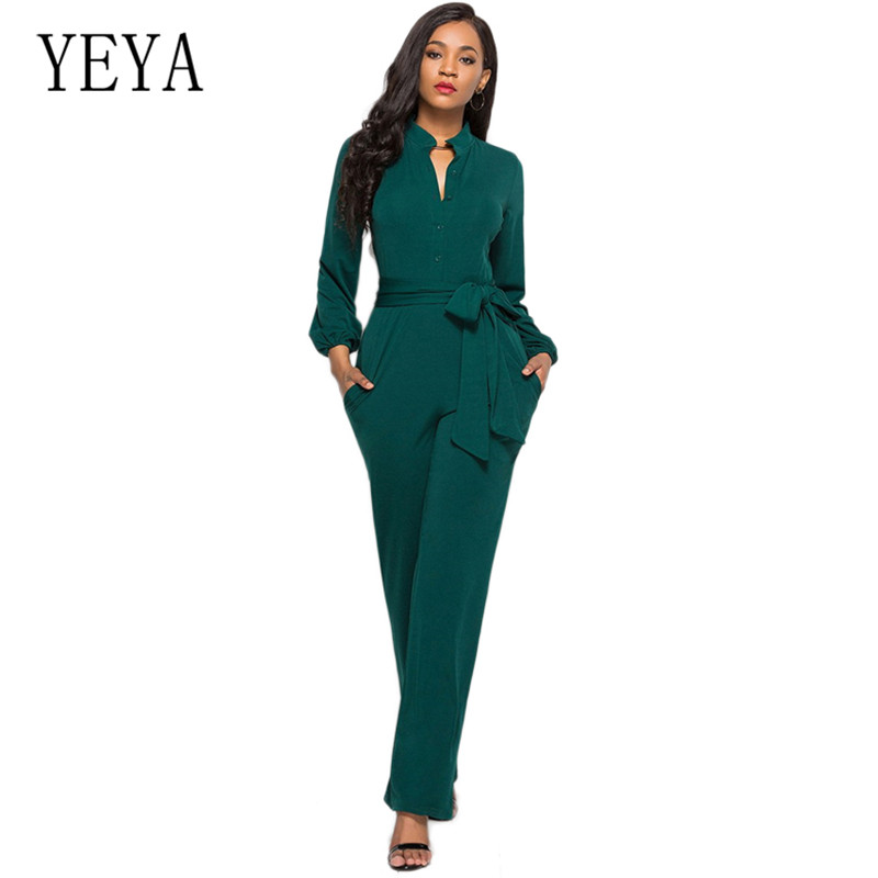 YEYA Plus Size S-XXXL Women Elegant Office Work Overalls Fasshion Long Sleeve Jumpsuits with Belt Casual Loose Playsuits Mujer