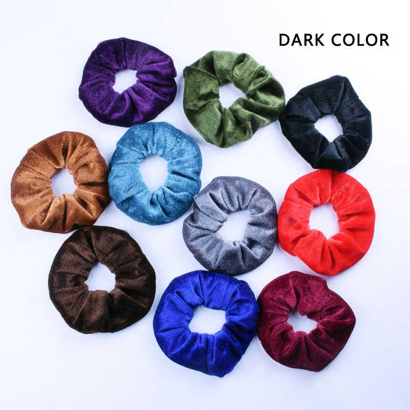 Miękka szyfonowa aksamitna kobiety włosy Scrunchie elastyczne gumki do włosów boże narodzenie rozciągliwe gumki do włosów kucyk stałe kolorowe akcesoria
