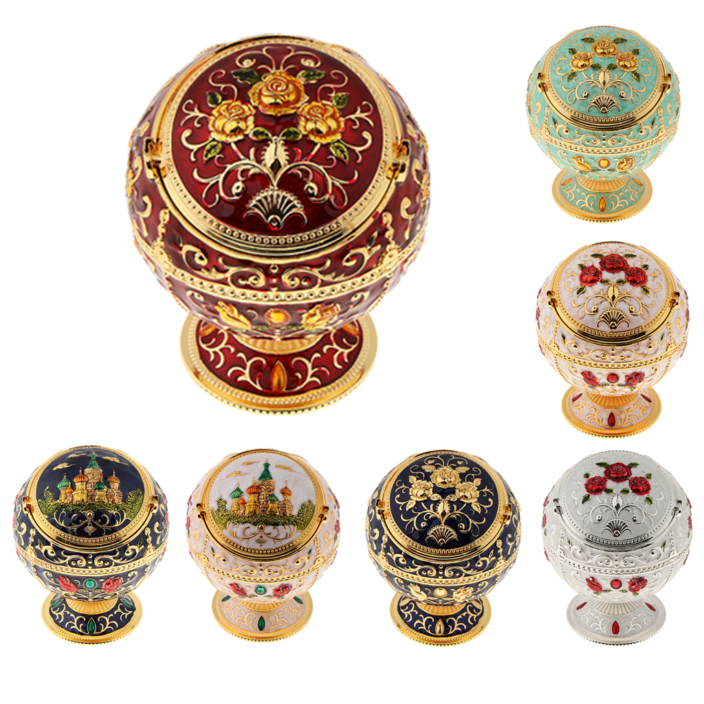 Zinc Alloy Jewelry Box With Lid Windproof Ashtray Vintage Flower Embossed Jewelry Jar Trinket Case Storage