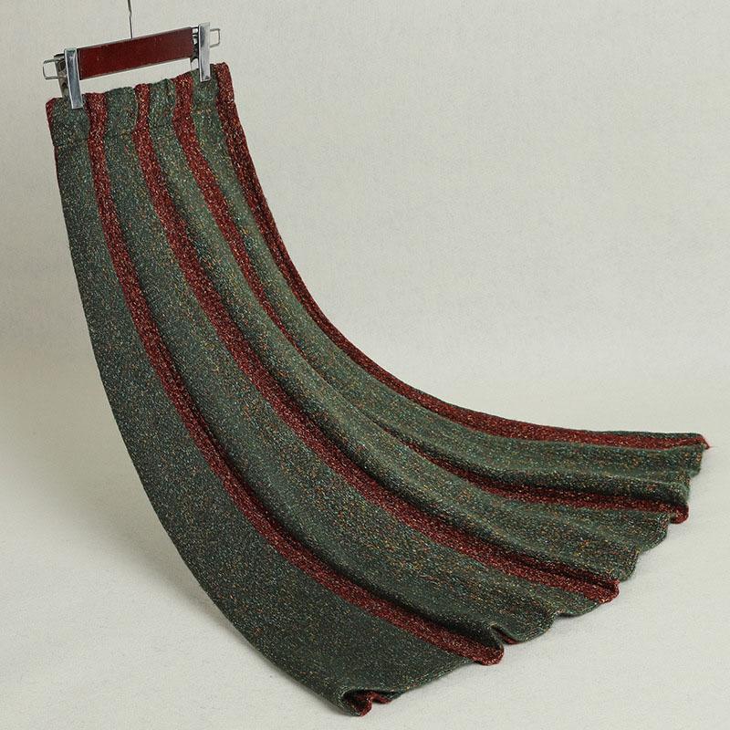 Women's Striped Skirt Pleated Autumn Winter Thick Irregular Large Size Knit Long Skirts Woman Faldas Female High Quality LS143