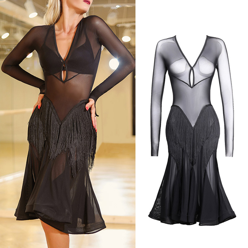 Latin Dance Dress Women Tango Salsa Cha Cha Samba Rumba Clothes Show Wear Black Mesh Sexy V-Neck Competition Dresses DNV12189