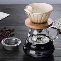 700 ML/500 ML/300 ML supports en bois goutteur de café en verre et ensemble de Pot filtre à café en verre de Style japonais V60 réutilisable verser sur