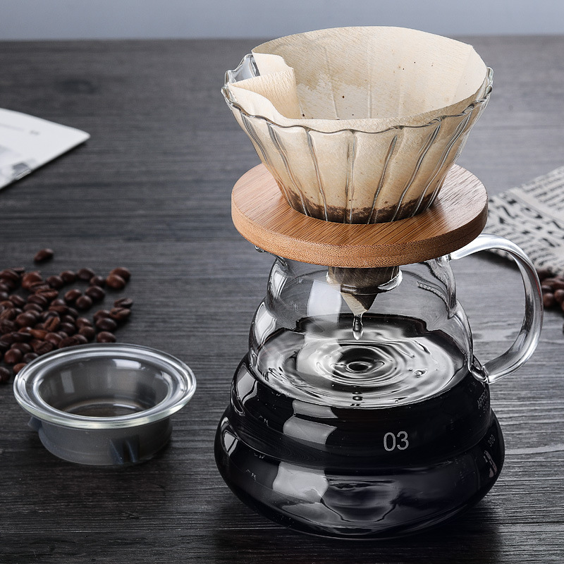 700ML/500ML/300ML Wooden Brackets Glass Coffee Dripper and Pot Set Japness Style V60 Glass Coffee Filter Reusable Pour Over