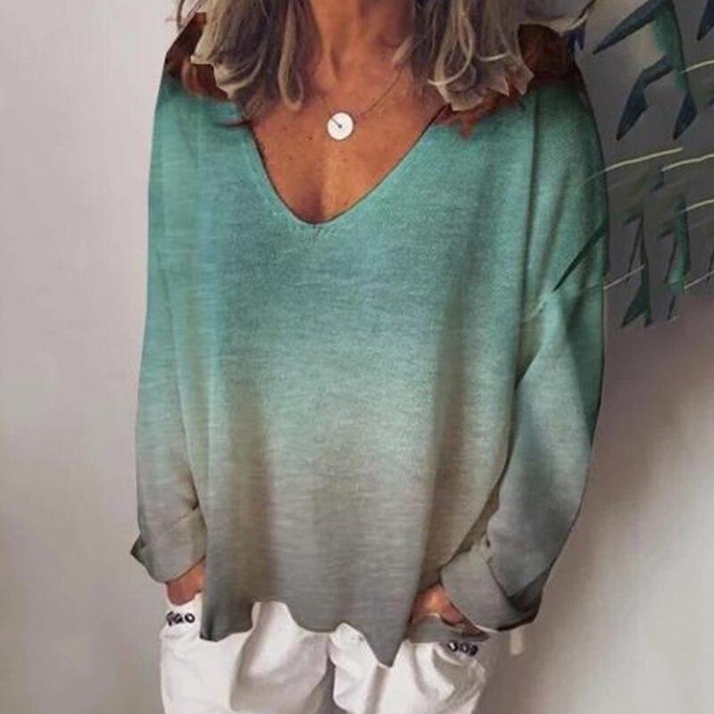 Осенняя женская рубашка свободный пуловер Женский градиентный цвет длинный рукав Топ Женская Повседневная глубокая одежда с вырезом