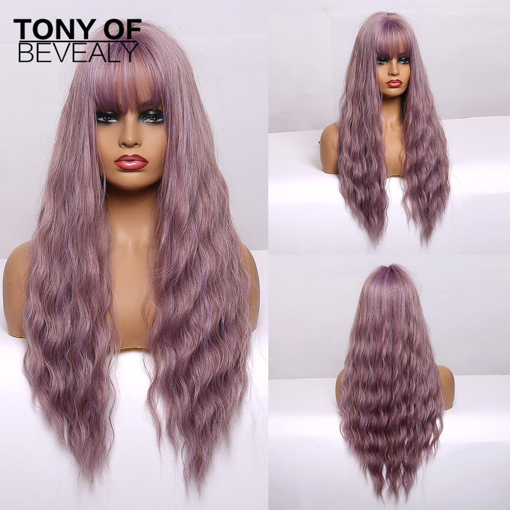 Image 4 - Synthetic Wigs Long Wavy Light Brown Natural Hair Wigs With Bangs for Women African American Fluffy Hair Heat Resistant FiberSynthetic None-Lace  Wigs   -