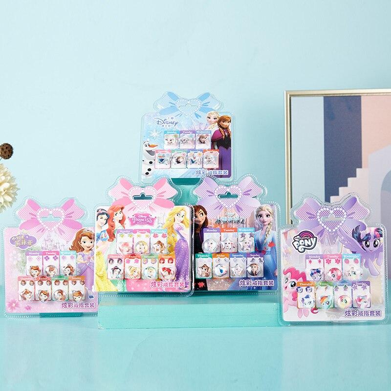 Disney Frozen 2 Elsa Anna Sofia Princess Rings Girls Makeup Toys Pony Princess For Girls Pretend Play Kids Rings Disney Jewelry