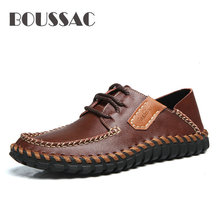 BOUSSAC Brand Genuine Leather Men Shoes High Quality Lace Up Casual Shoes Men Summer Stylish Daily Oxford Flats Fashion high quality 2017 top fashion genuine leather shoes men oxford style lace up shoes for men brand casual shoes men xf009 39 44