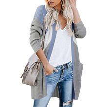 2020 długi damski płaszcz zimowy damski damski długi rękaw sweter z dzianiny luźny płaszcz damski # c tanie tanio CN (pochodzenie) Zima Na co dzień Osób w wieku 18-35 lat Brak Pełna COTTON STANDARD Suknem REGULAR Stałe WOMEN Kieszenie