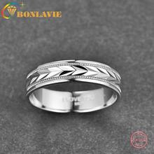 Men Ring Polished-Ring Wedding Pure-Silver Jewelry-Accessories Wholesale 6mm BONLAVIE