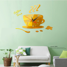 3D Acrylic Wall Clock DIY Coffee Time Clock Modern for Kitchen Home Decor Cup Shape Wall Sticker Hollow Numeral Clock