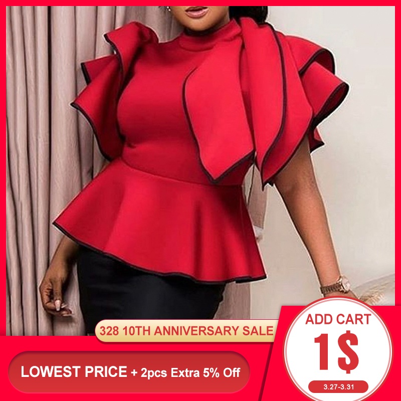 Red Falbaba Women Blouse Tops Summer African Ruffles Sleeve High Waist Female Shirts Elegant Office Lady Work Tops 2020 Blouses