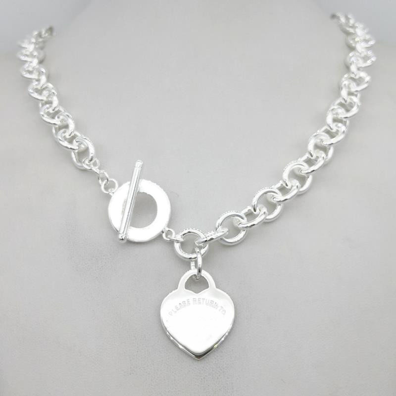 Sterling Silver 925 Classic Fashion Silver Heart Tag Charm Girl Necklace Jewelry Holiday Gift
