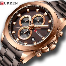CURREN New Mens Watches Fashion Casual Stainless Steel Band Chronograph Quartz Watch Men Date Sport Military Male Clock 8354