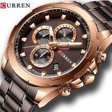 CURREN nowe męskie zegarki moda wygodny pasek ze stali nierdzewnej zegarek chronograf kwarcowy mężczyźni data Sport wojskowy mężczyzna zegar 8354