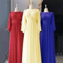 Chiffon Abaya Gowns Prom-Dress Dubai Kimono Women Caftan Muslim Dialaba Elegant African