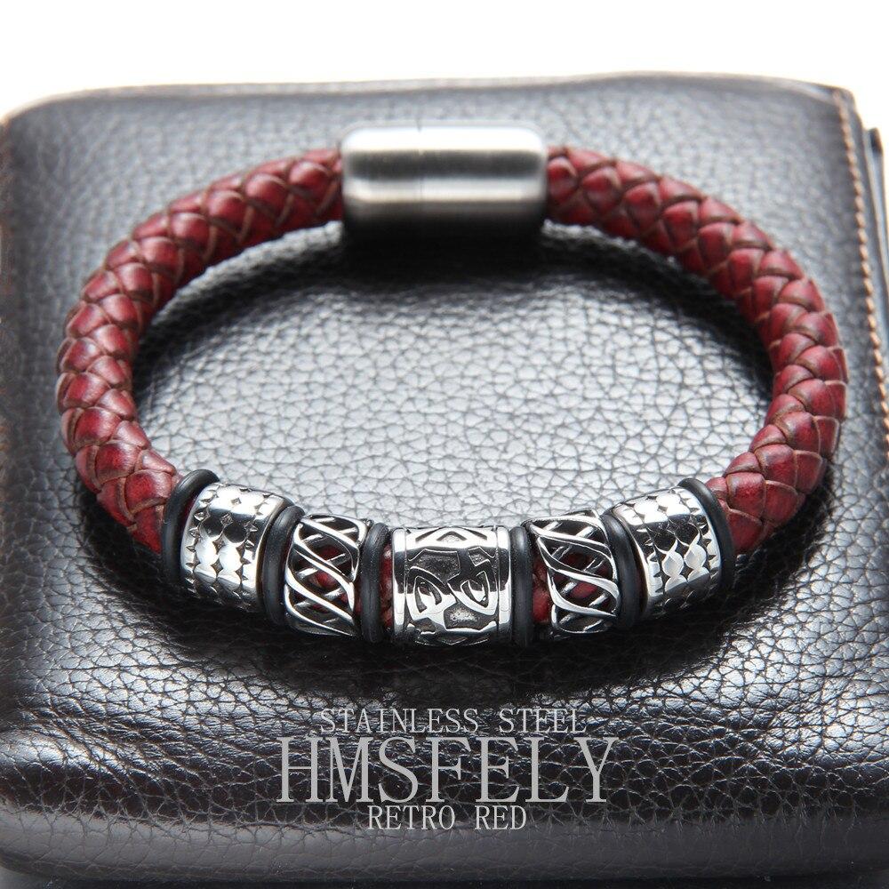 HMSFELY Men Fashion Leather Bracelet Stainless Steel Viking Beads Charm Bracelets Bangles Jewelry For Men Magnet Clasp Bracelet