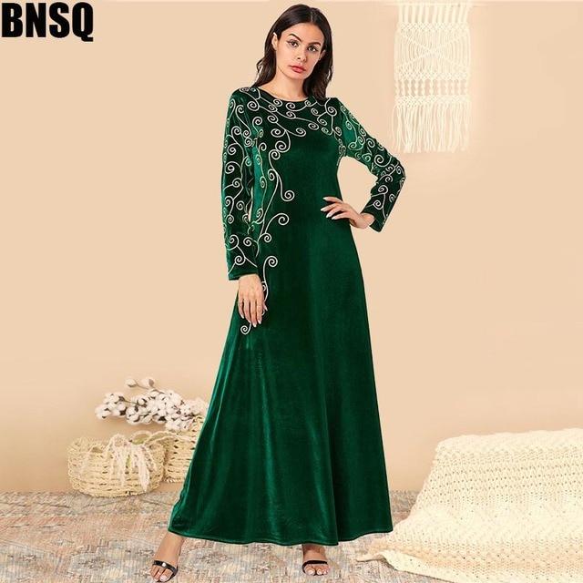 BNSQ Arabian gold velvet embroidered abaya Indian Clothes for Women Punjabi  Kurta Party Maxi Long Sleeve Pakistani Dresses Caftan Marocain Turkey Kaftan Pakistani Dress Abaya