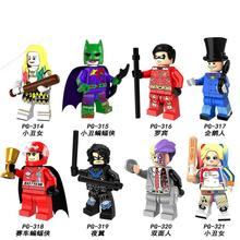 цена PG8103  8PCS Set Building Blocks Super Heroes Joker Batman Two-Face Penguin Harley Quinn Robin Nightwing Figures Children Toys