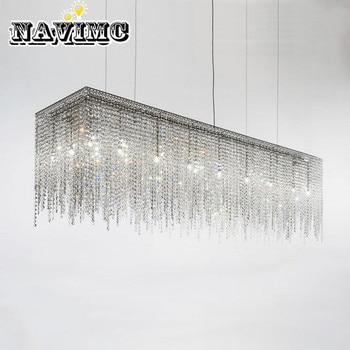 Moderno longo k9 retangular lustre de cristal iluminação para sala jantar sala estar quarto pendurado lâmpada