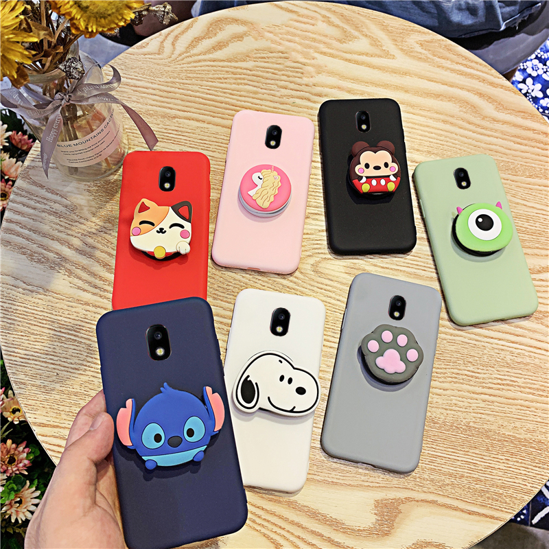 3D Silicone Cartoon Phone Holder Case For Samsung Galaxy J3 J8 J7 Pro J2 Core J6 J5 J4 Plus 2018 2017 2016 Cute Stand Cover(China)