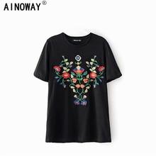 Boho verano moda vintage chic mujeres floral bordado de manga corta camiseta señoras tops algodón camiseta femenina
