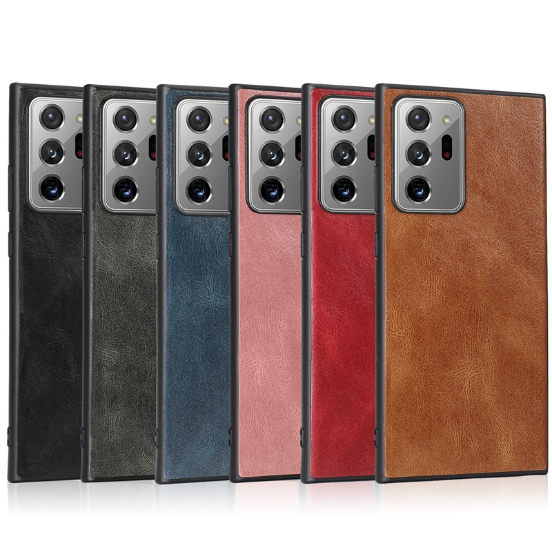Leather Case For Samsung Galaxy Note 20 S20 Ultra S8 S9 S10 S20 Plus S10e Note 10 Lite Plain PU Leather + Silicone Back Cover