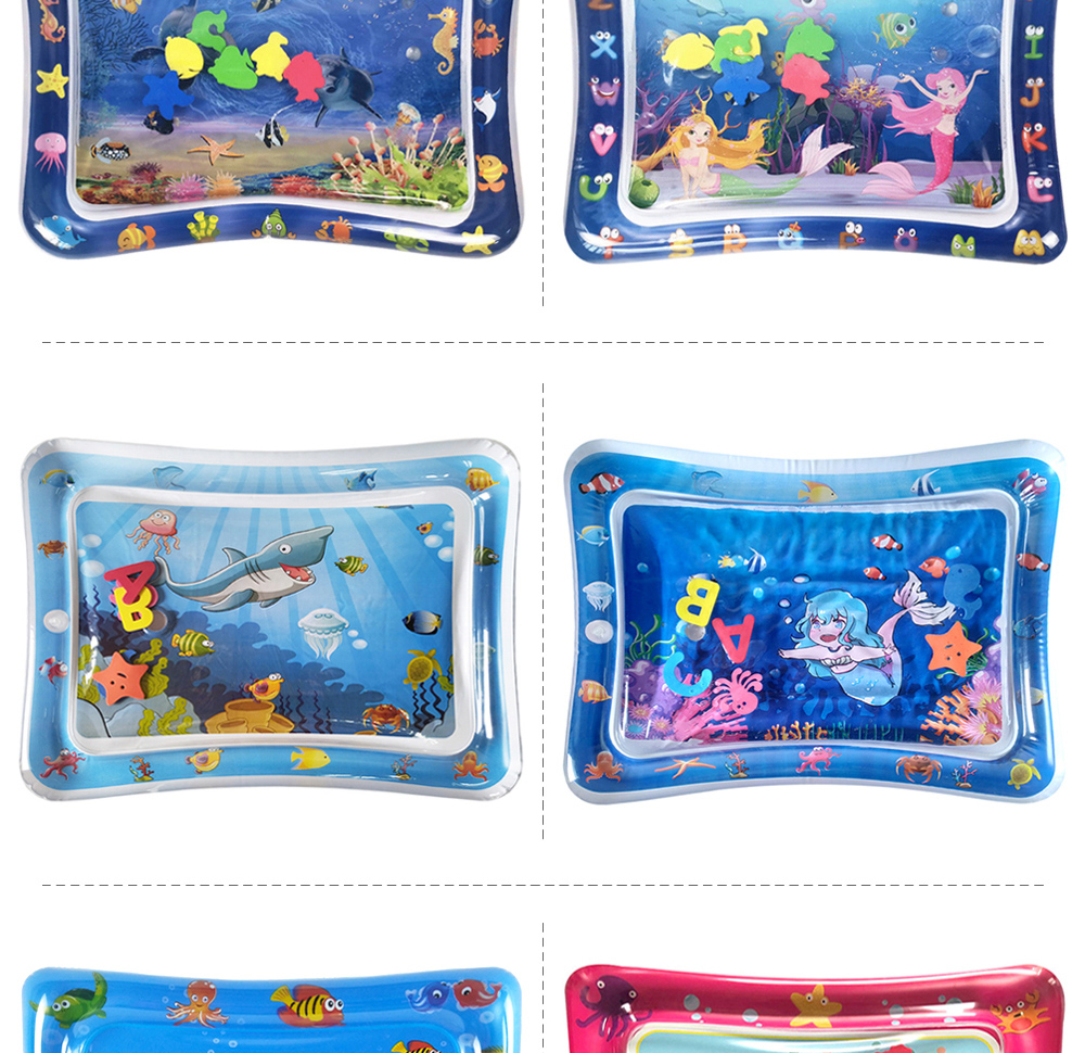 H4f88f9cf578f4ab0b373047e44239dc3C 36 Designs Baby Kids Water Play Mat Inflatable PVC Infant Tummy Time Playmat Toddler Water Pad For Baby Fun Activity Play Center