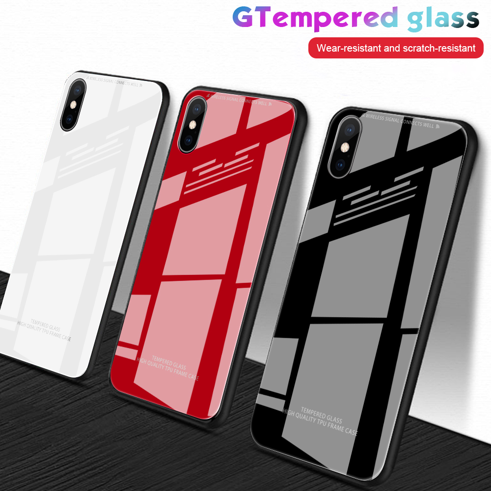 Black White Phone <font><b>Case</b></font> For <font><b>iPhone</b></font> XR XS X XS Max Solid Smooth Tempered Glass Cover For <font><b>iPhone</b></font> 6 <font><b>6S</b></font> 7 8 <font><b>Plus</b></font> Fashion Glass image
