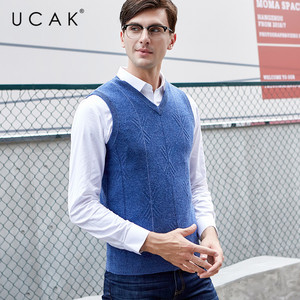 UCAK, брендовый свитер, жилеты, 2019 Новое поступление, Осень-зима, чистая мериносовая шерсть, повседневный модный стиль, Вязанный свитер U3120