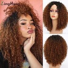 Linghang длинный красный черный афро парик курчавые вьющиеся