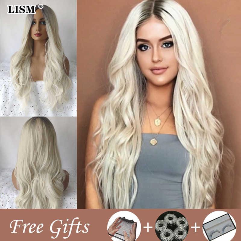 Kobiety naturalne blond Peruka Pruiken Dames Pelucas De Mujer Cosplay Peruka pastelowe fioletowe peruki Bigoudis Cheveux Pour Femme