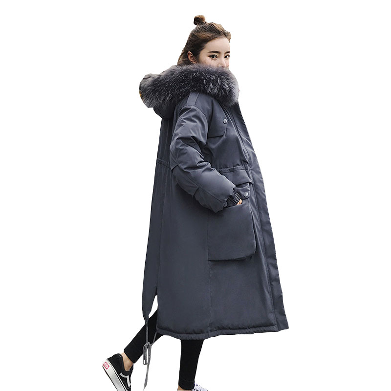 Winter Big Fur Hood Long   Down     Coat   Jacket Thick Warm Women Casaco Feminino Abrigos Mujer Invierno Cotton Padded Wadded Parkas 09