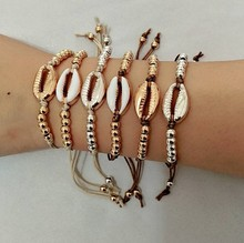 Gold Silver Color Cowrie Shell Charm Bracelet for Women Bead Strand Bracelet Delicate Rope Chain Bracelets Bohemia Beach Jewelry crystal bead and crown bracelet safety chain luxury strand bracelet