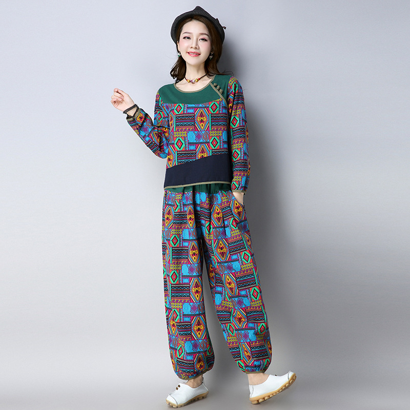 2018 Autumn New Style Ethnic-Style Cotton Linen Printed Long-sleeved T-shirt Retro Loose Loose Pants Fashion Leisure Suit