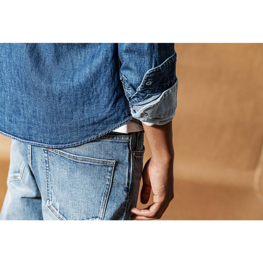 Image 5 - Мужская джинсовая рубашка SIMWOOD, Повседневная рубашка из 100%  хлопка с пуговицами, большие размеры, качественная брендовая одежда,  весна 2020, 190407Повседневные рубашки