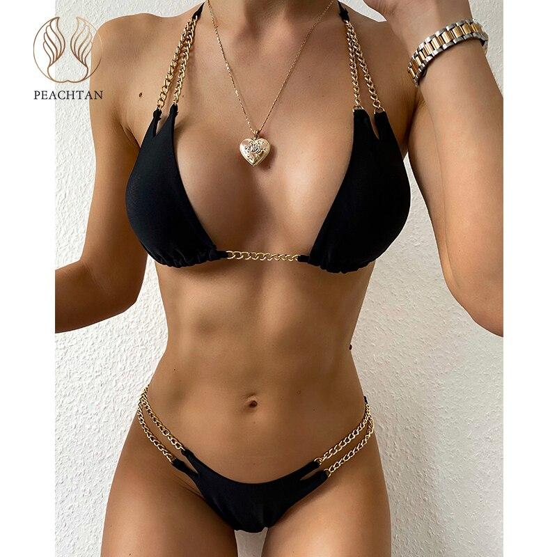 Peachtan Halter Bikini Set 2020 Chain Swimsuit Women Push Up Bathing Suit Black Swimwear Women Micro Bikini Swimming Suit New