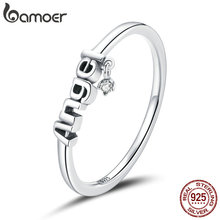 bamoer Real 925 Sterling Silver Round letter angel Ring For Fashion Women Cute Fine Jewelry 2020 wedding Accessories Gift SCR696