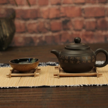 Solid Wood Tea Tray Drainage Cup Teapot Mat Gongfu Tea Table Serving Plate N58A image