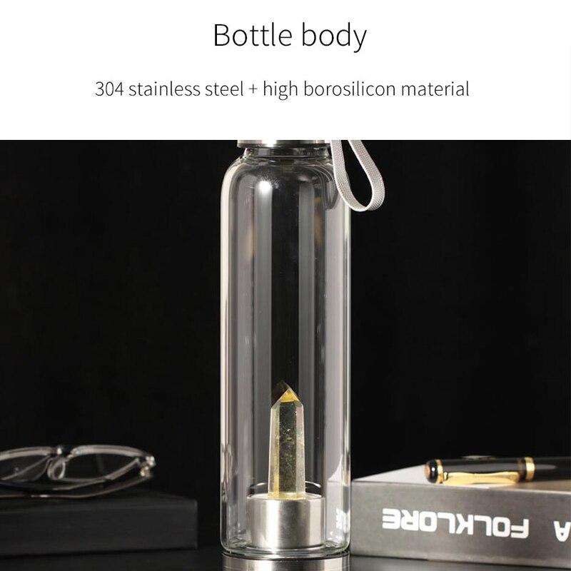 Omife 550ml Healing Energy Crystal Water Bottle Glass Stainless Steel Water Bottle Sport Gym Drinking Water Jug Fitness Kettle in Water Bottles from Home Garden