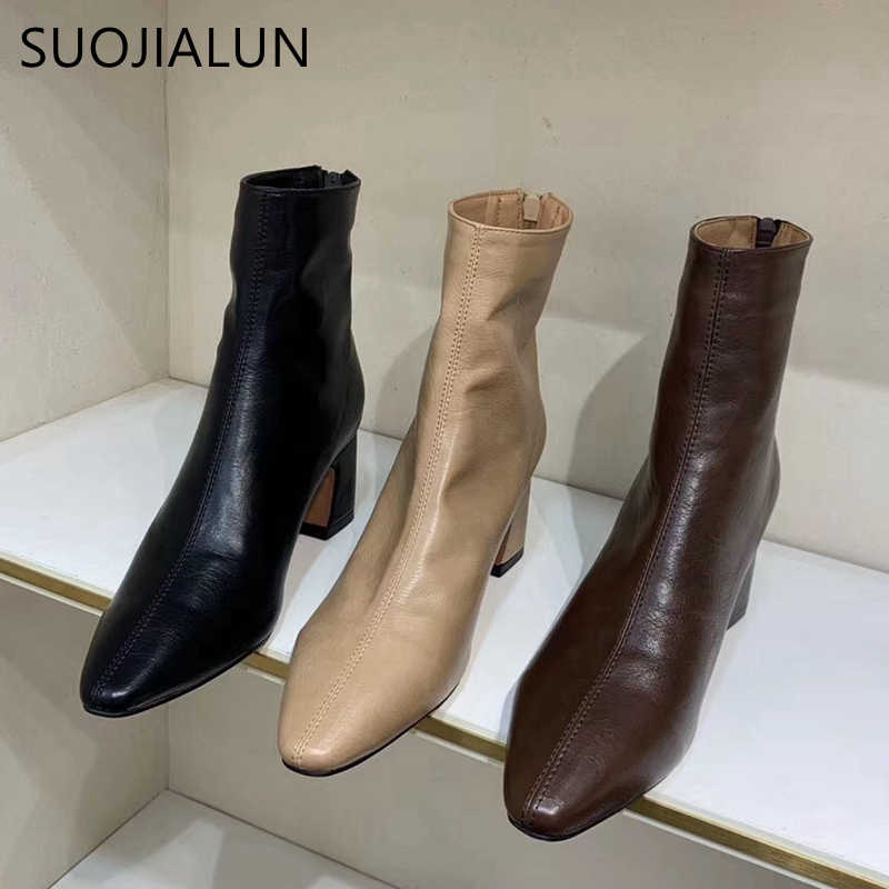 SUOJIALUN 2019 Winter Women Ankle Boots Inner Warm Plush Short Boot High Square Heel Zip Ladies Shoes Boots Bota Feminina