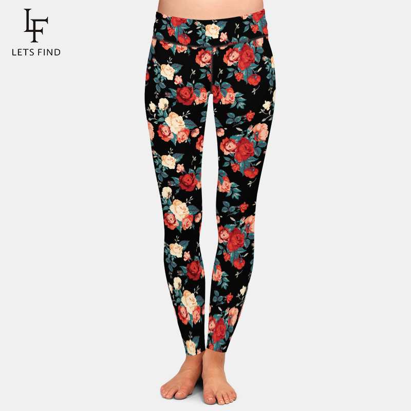 LETSFIND 2020 New Fashion Women Rose Printing Women Leggings High Quaility High Waist Plus Size Slim Leggings