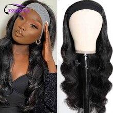 Клюквенный волнистые волосы, для придания объема парик с головной повязкой парики из натуральных волос для черный Для женщин доступная Remy б...