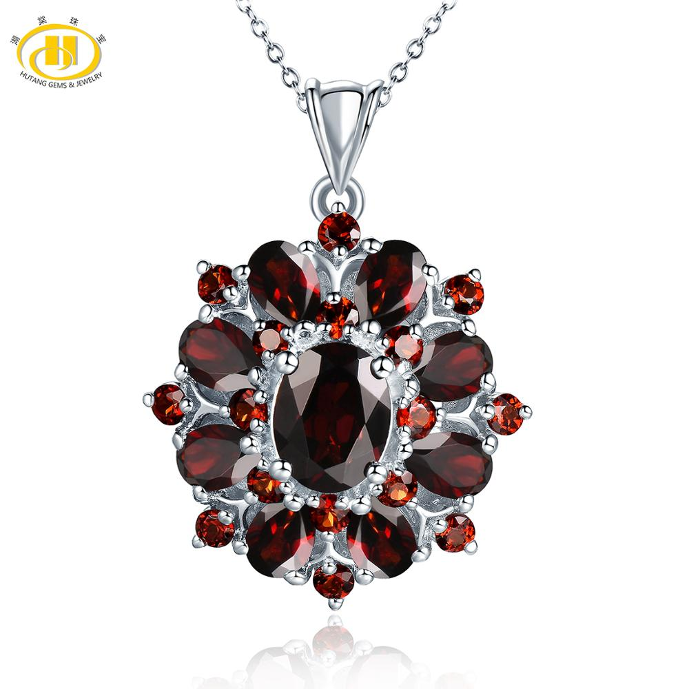 Hutang 7.54ct Natural Black Garnet Pendant, 925 Sterling Silver Necklace Fine Gemstone Jewelry For Women, Gift For Christmas