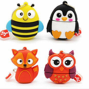 Cheap pendrive cute cartoon Penguin owl fox style usb Flash Drive 8gb 16gb 32gb 64gb128gb pen drive flash  stick memoria usb3.0