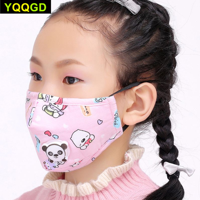 1Pcs Winter Children Mask Respiratory Valve Cartoon Panda Thicken Smog Mask Warm Mask Fits 2-10 Years Old Kids 4