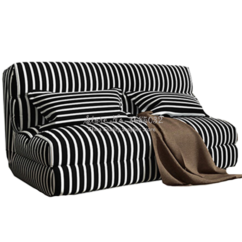 60/90/120cm Fashion Sofa Bed Lazy Couch Folding Velvet Stripe Tatami Bedroom Sofa Chair Washable With Removable Cover