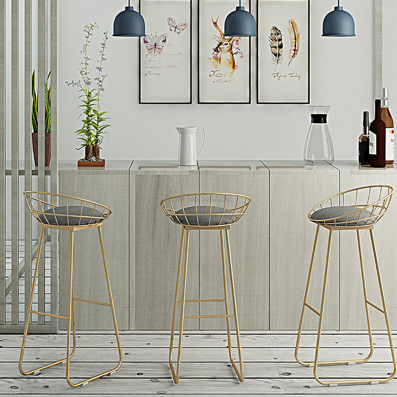 Nordic Dining Chair Iron Bar Counter Chair Concise Leisure Originality Golden High Footstool  Gold Metal Chair Cheap