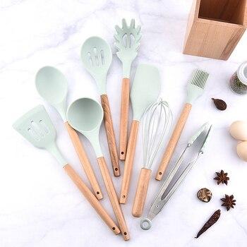 Free ship 9pcs Fresh Blue Silicone Kitchenware Set Japanese Style Wood Receiving Tube Kitchenware Set Pot Shovel and Spoon Set