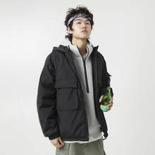 YUECHEN Autumn And Winter New Mens Casual Two-color Three-dimensional Pocket Color Matching Collar Hooded Cotton Coat
