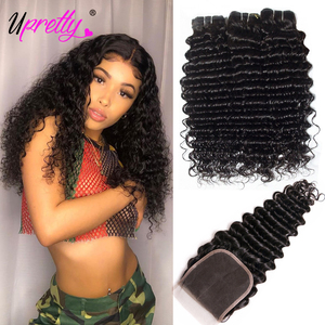 Upretty Hair Brazilian Hair Weave Bundles With Closure 3 Bundle With Lace Closure Remy Human Hair Deep Wave Bundles With Closure(China)
